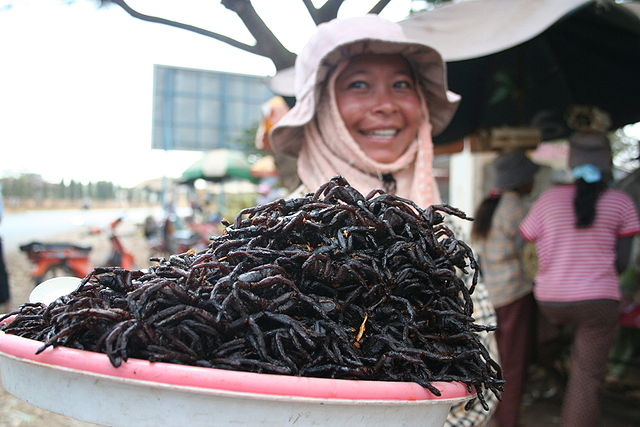 Eat a fried spider in Cambodia