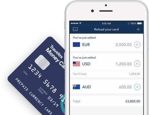 Graphic showing the Travelex Money app